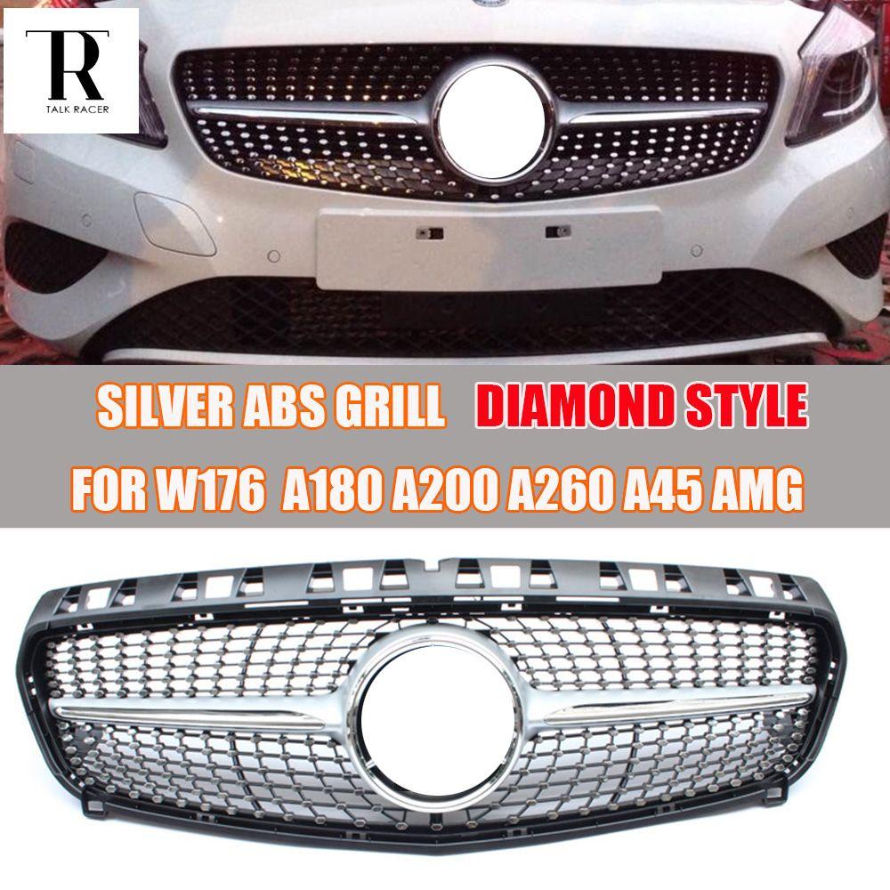 Silber ABS Diamant Front Grill für Mercedes Benz W176 A-CLASS A180 A200 A260 A45 AMG 2013 2014 2015 Ohne stern Logo