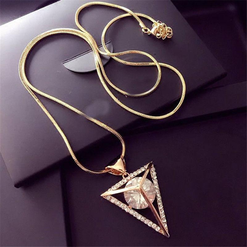 Lemon value nueva moda crystal rhinestone largo maxi collares colgantes del triángulo geometría punky de la vendimia mujeres regalo de la joyería a143