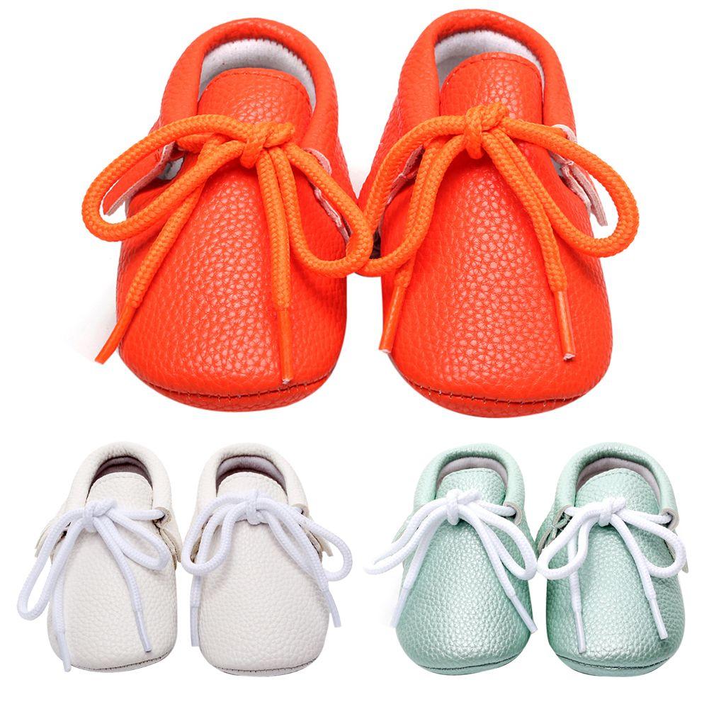 Обувь для младенцев для детей Обувь для девочек для маленьких мальчиков Обувь Повседневное мягкой подошве Кружево-Up Твердые Детские Мокаси...