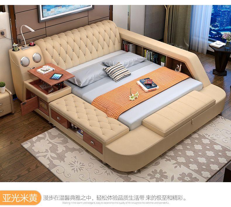 Genuine leather bed with storage speaker LED light safe Modern Soft Beds Home Bedroom cama muebles de dormitorio camas quarto