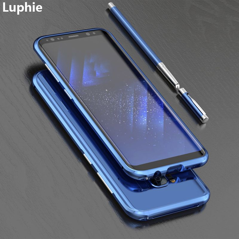 LUPHIE pour Samsung Galaxy S8 housse de protection de luxe mince en métal dur en aluminium étui de téléphone antichoc pour Samsung S8 Plus étui