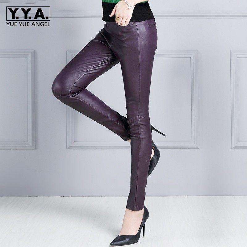 Frauen Sexy Strechy Slim Fit Luxus Sheepksin Echtes Leder Bleistift Hosen Elastische Taille Natürliche Leder Hosen OL Dünne Hosen