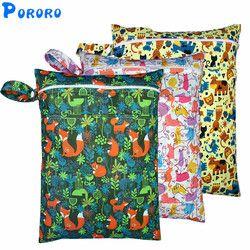 PUL Humide Sac Bébé Imperméable Couches En Tissu Sac Double Zips Imprimer Réutilisable Bébé Nappy Ordures Humide Sac Wetbags 30x40 cm