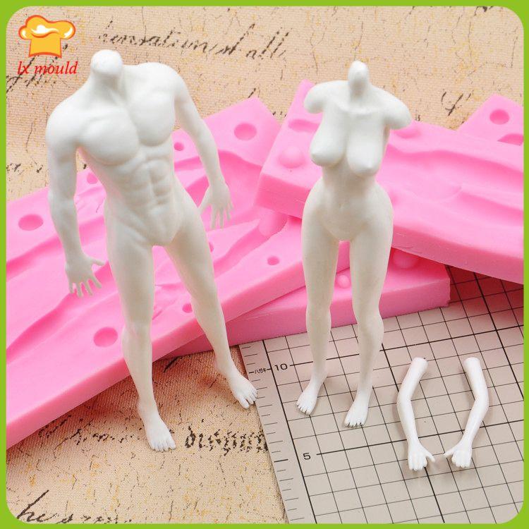 Männliche und weibliche körper drehen modell körper brust puppe körper mold food grade silikon form männlichen und weiblichen ganzkörper form DIY