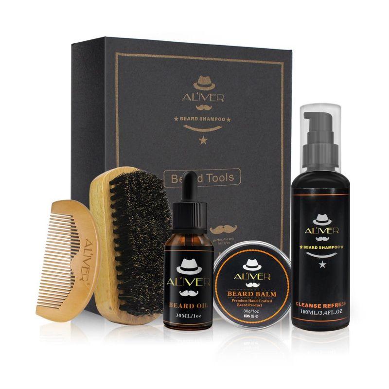 ALIVER Men Moustache Cream Beard Oil Shampoo Kit Set With Moustache Comb Brush Storage Bag For Gentleman New Arrival