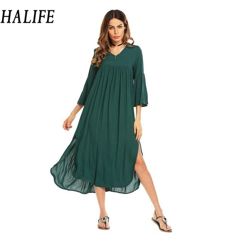 HALIFE Women V-Neck Flare Sleeve Maxi Long <font><b>Tent</b></font> Dress Split Hem Bohemian Beach Loose Casual Green Dress Robe Femme Summer 1130