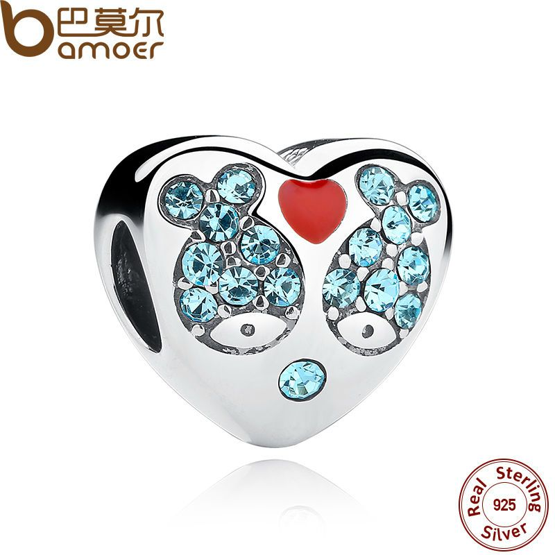 BAMOER 925 Sterling Silver Red Heart Blue Crystal Fish Heart Charms Fit Bracelet Jewelry Making Mother Gift SCC020