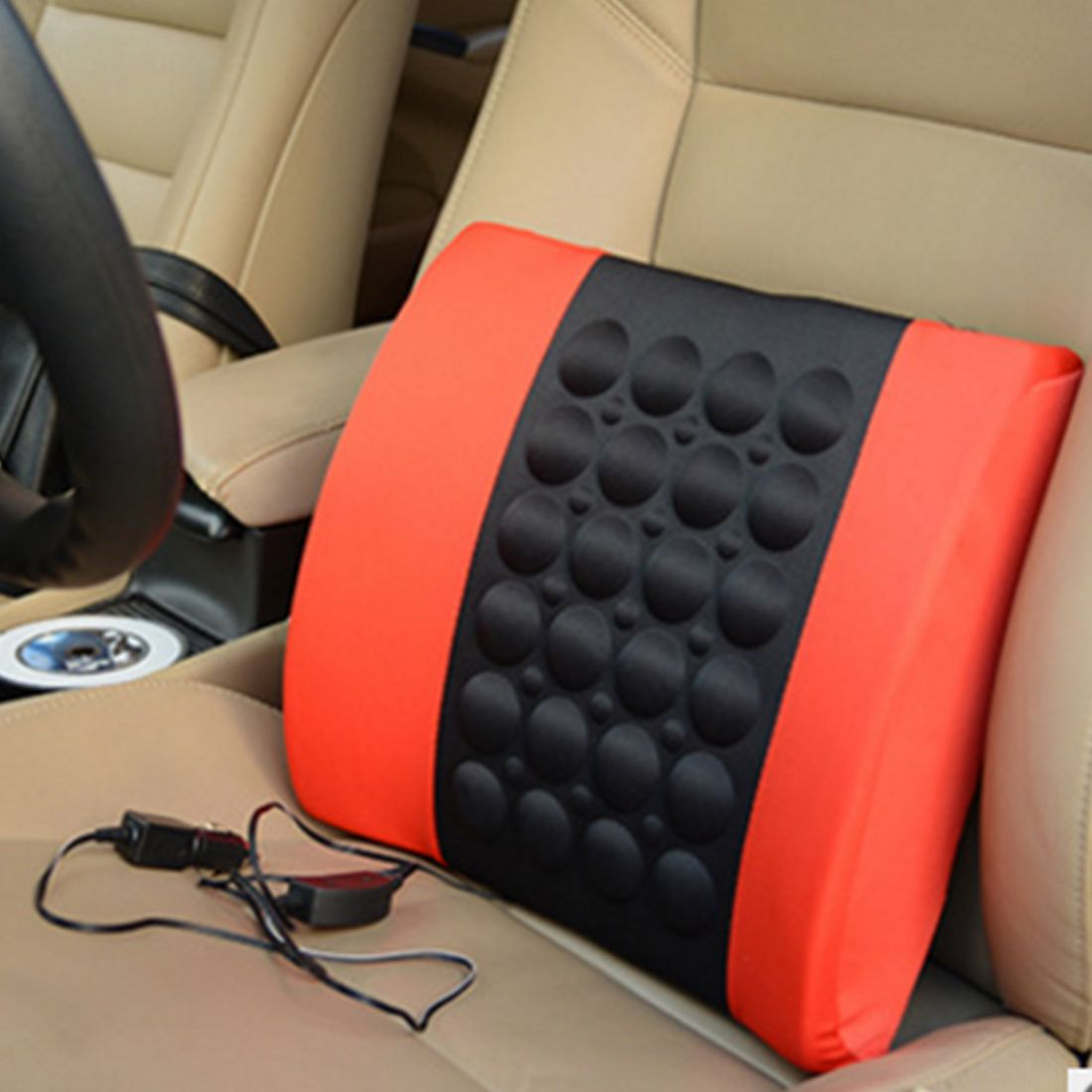 Dewtreetali Top Multifunctional Electrical Car Massage Lumbar Support Cushion Vehicle Back Seat Relaxation Waist Support