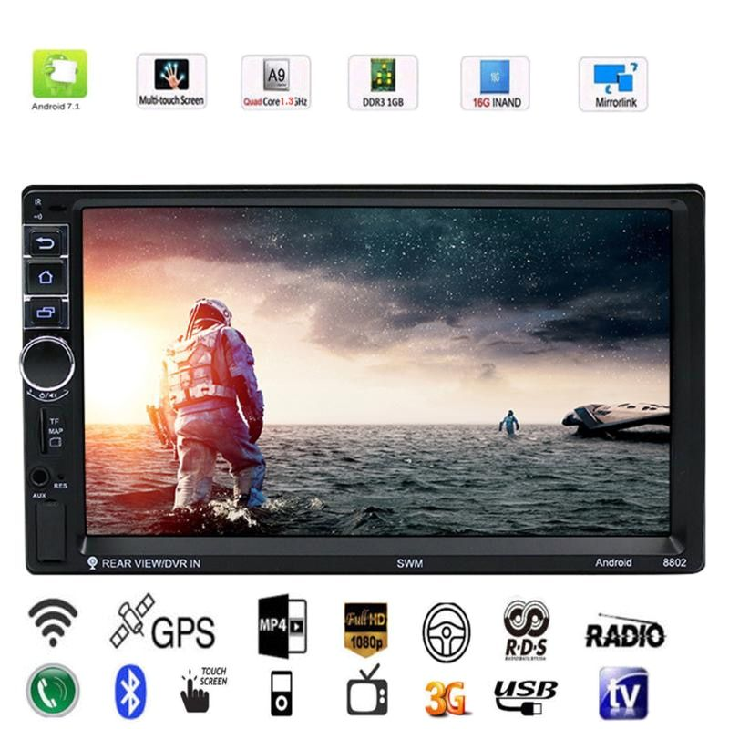 VODOOL 7inch 2 Din 1080P Quad-core Car Stereo MP5 Player Bluetooth Car GPS Navigator 1G/16G Built-in WIFI FM Auto Radio OS