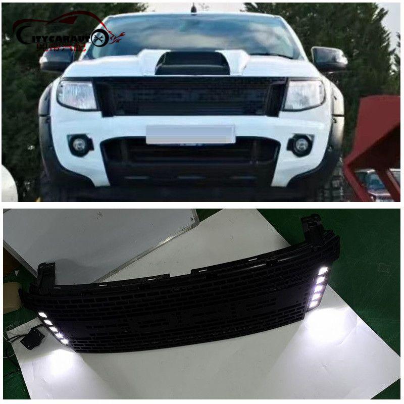 CITYCARAUTO EIGENEN DESIGN GEÄNDERT LED Racing grill grille ABS schwarz front grill trimmt fit für Ranger wildtrak T6 txl pickup2012-14