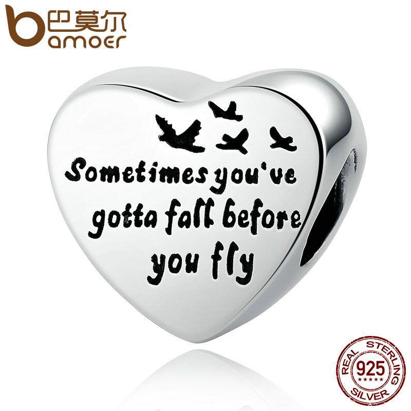 BAMOER Romantic 100% 925 Sterling Silver Heart Of Freedom Love Screw Charms fit Bangles & Bracelets Women Fashion Jewelry PSC031