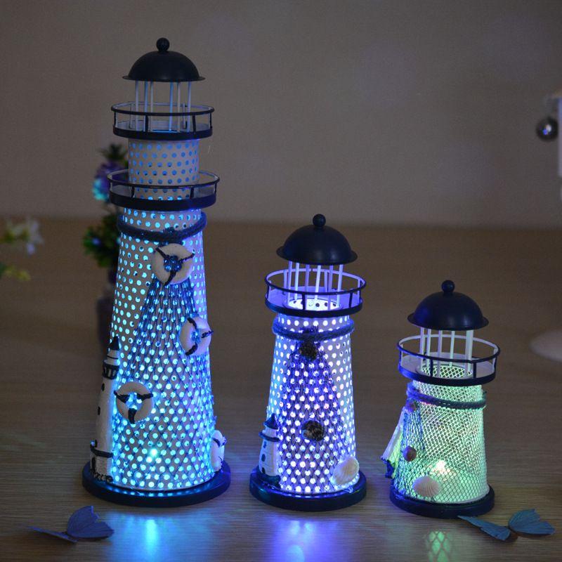 Fée à la main méditerranéen phare jardin Figurines moderne lumineux maison décoration artisanat miniatura cadeau décoratif