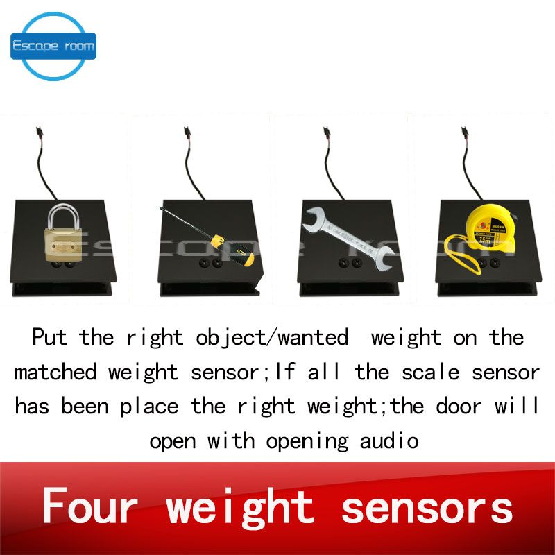 real life room escape scale weight prop put the wanted weight on the related four scale sensors to unlock with opening audio