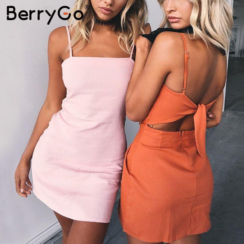 BerryGo Bow décontracté en lin sexy dos nu 2018 robe d'été de plage femmes robe d'été Slim fit moulante robe courte blanche vestidos