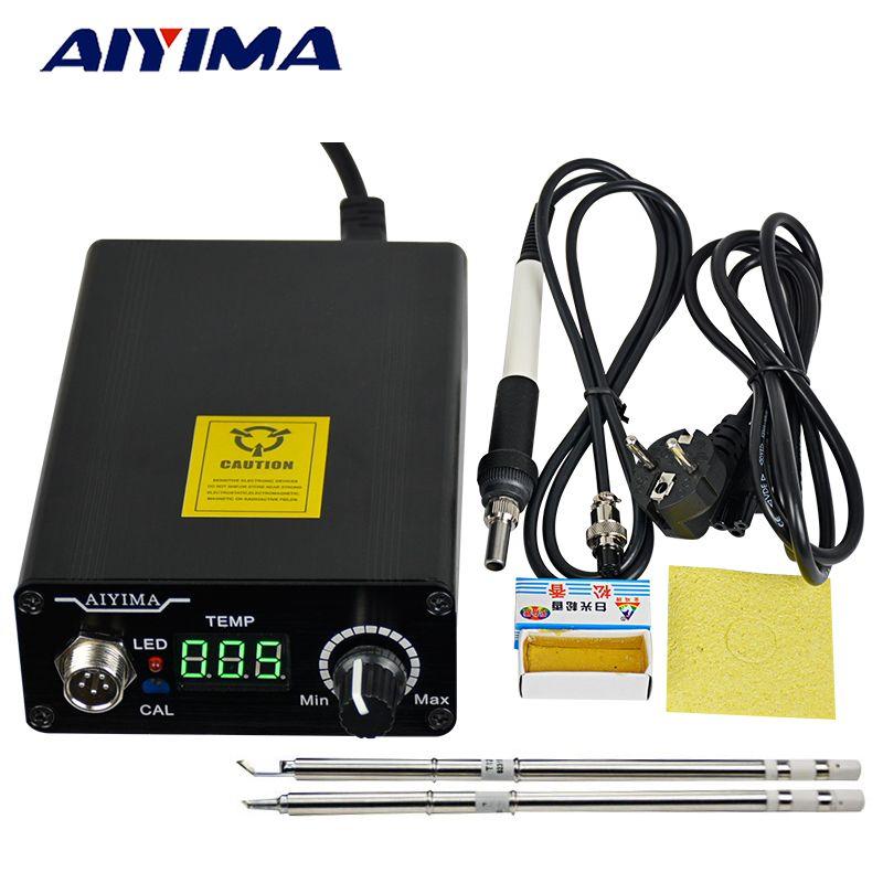 AIYIMA 110 V 220 V T12 contrôleur de température de Station de fer à souder numérique prise EU + poignée T12 + embouts T12-BCM2 et T12-K