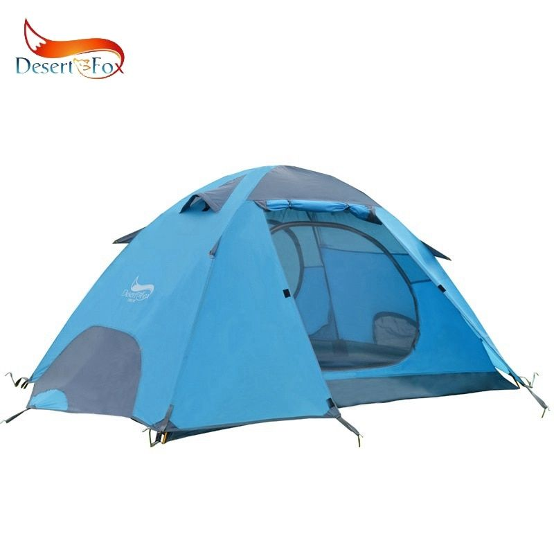 Desert&Fox Outdoor Camping Tent Alumunym Alloy Poles Inner Outer Double Layer 2 Person Large Space Waterproof Hiking Travel Tent