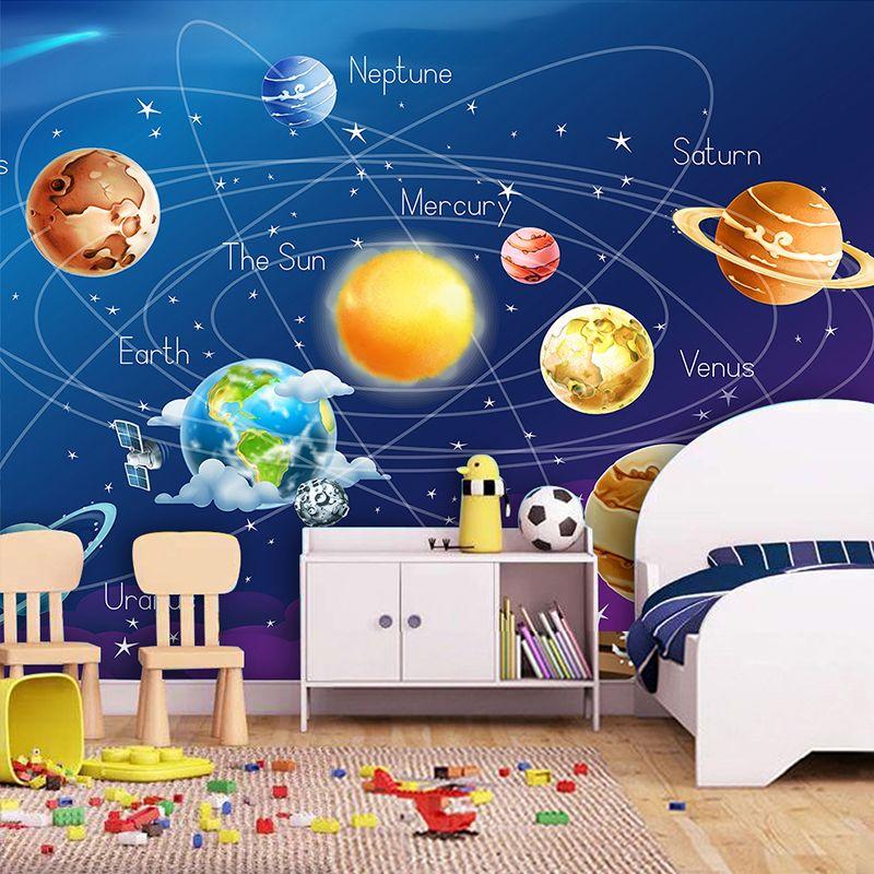 Benutzerdefinierte Große Wandbilder 3D Blau Cosmic Starry Sky Tapete Cartoon Kindergarten kinder Zimmer Hintergrund Wand Papier Papel De Parede