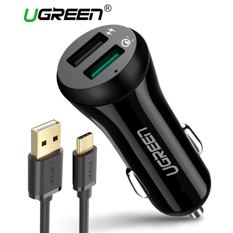 Ugreen 3A автомобиля Зарядное устройство 18 Вт Quick Charge 3.0 автомобилей Зарядное устройство с зарядный кабель fast Dual USB мобильного телефона автомоби...