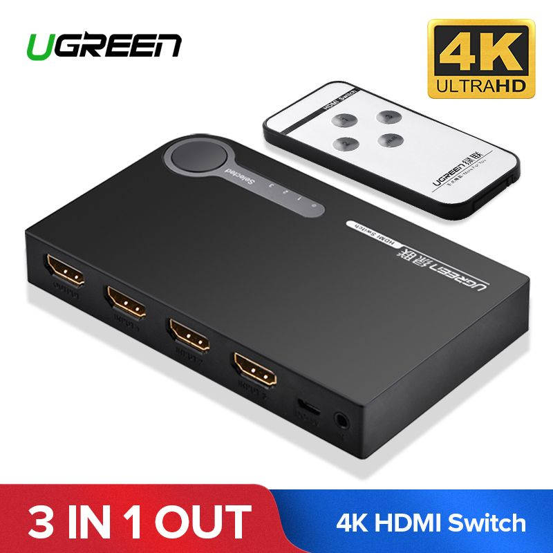 Ugreen HDMI Splitter Switch 3 Input 1 Output 4K HDMI Switcher for PC Laptop XBOX 360 PS3 PS4 Nintendo Switch 3 Port HDMI Adapter
