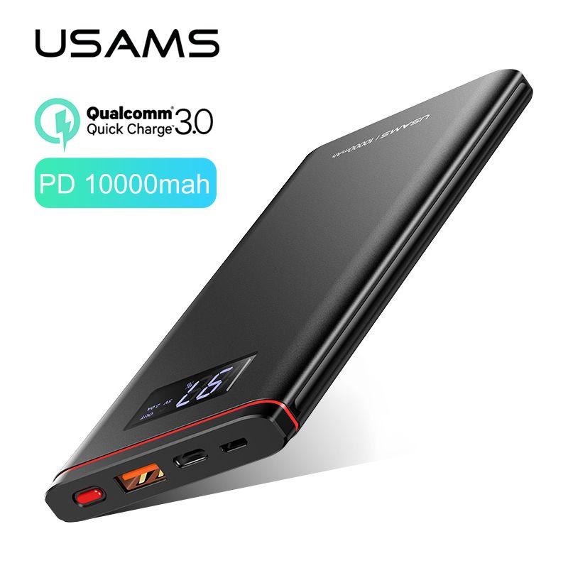 Chargeur batterie externe rapide, USAMS 10000 mah PD chargeur batterie externe rapide QC 3.0 PowerBank Type C chargeur USB pour iPhone Xiaomi 9 Samsung