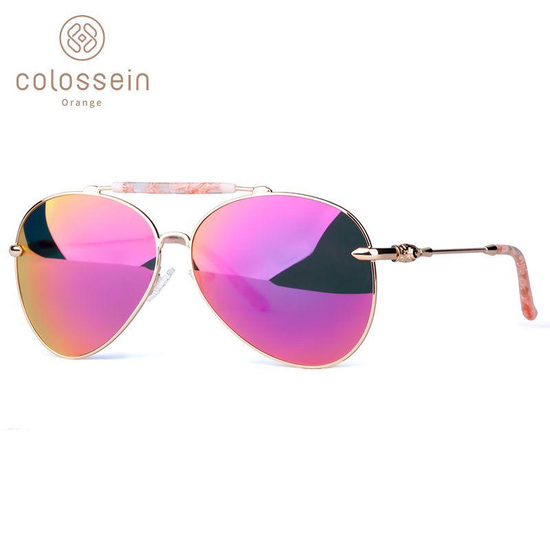 COLOSSEIN surdimensionné lunettes de soleil femmes Vintage ovale pilote métal cadre lentille adulte lunettes de soleil mode lunettes revêtement pêche UV400