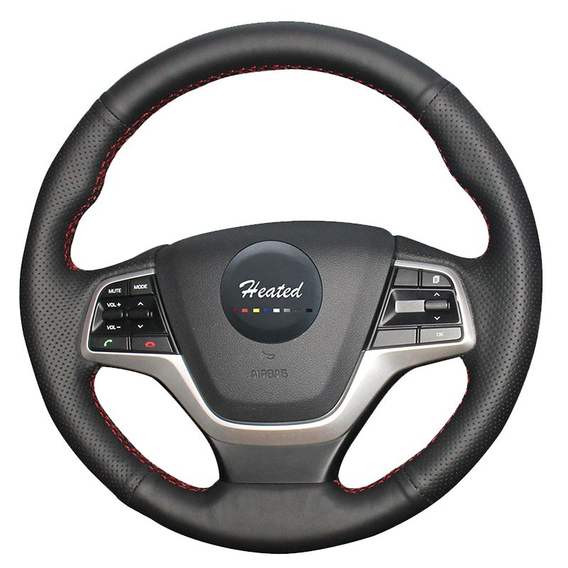 Luxury Hand Sewing Car genuine leather steering wheel cover for Hyundai Elantra 4,Hyundai solaris 2016 2017 car styling