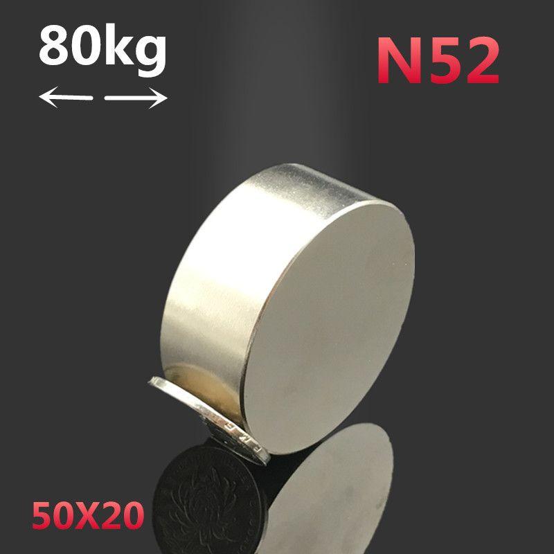 1pcs N52 Neodymium magnet 50x20 mm <font><b>super</b></font> strong round rare earth magnetic 50*20 gallium metal powerful permanent welding search