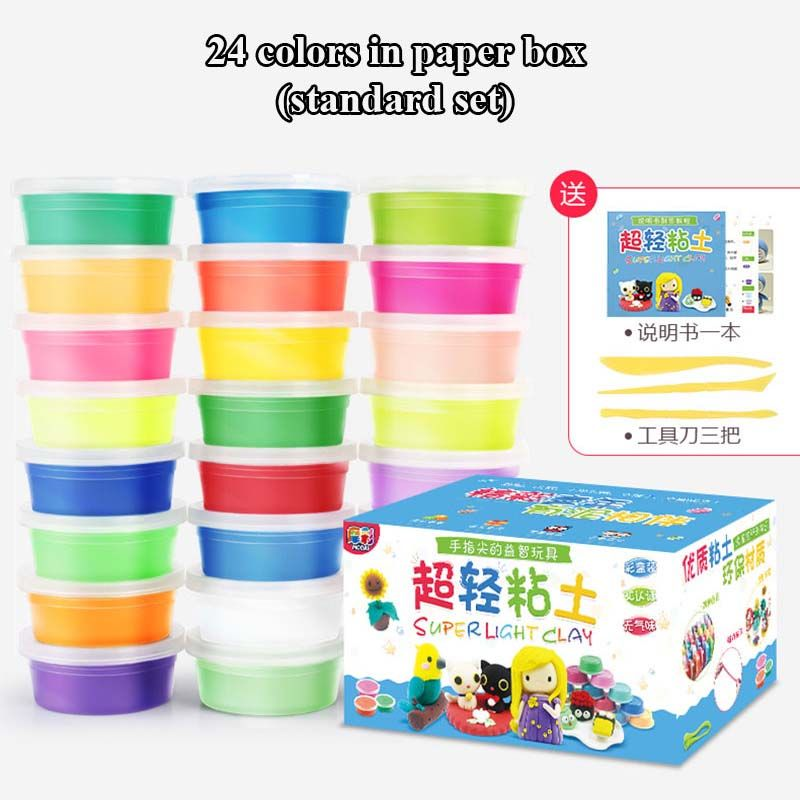 24 Colors / 36 Colors Super Light Modeling Clay Set Air Dry Soft Plasticine Plastilina <font><b>Play</b></font> Dough Playdough Polymer Clay DIY Toy
