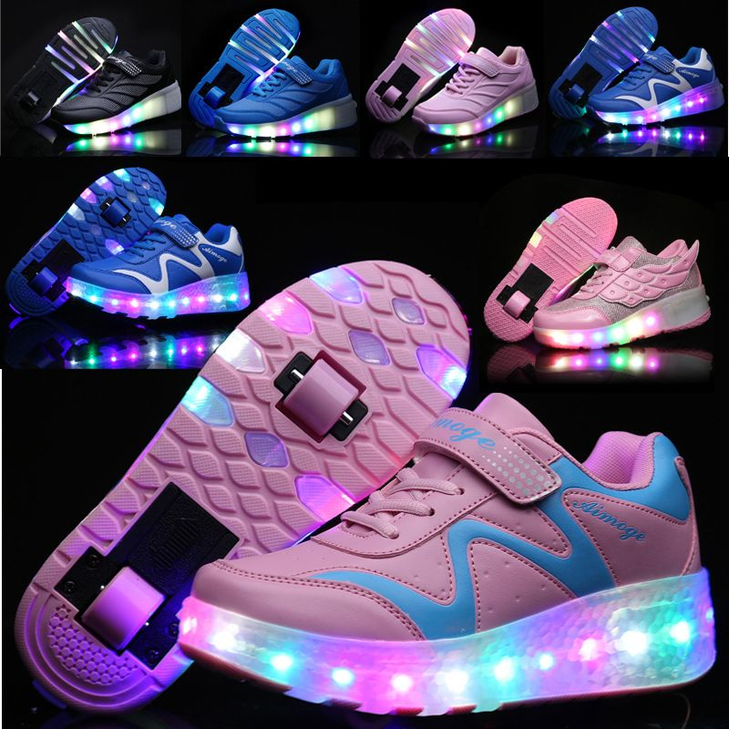 MLUCKY 2018 New Children Shoes for Girls Sneakers with Double / Single Wheels USB Charging Double USE Roller Skate Shoes 321