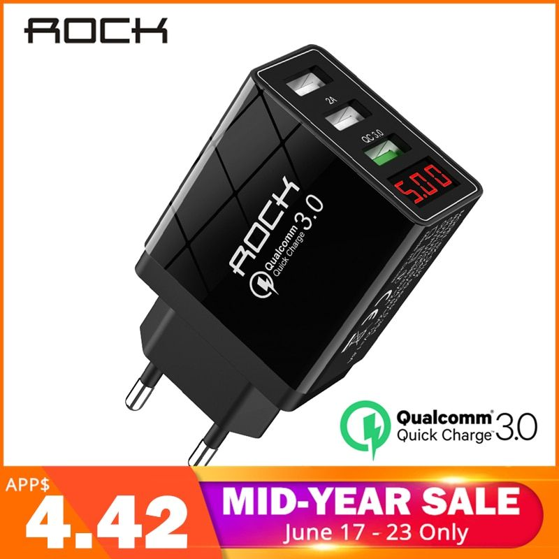 ROCK QC 3.0 30W 3 USB Quick Charging Phone Charger LED Display For iPhone Xiaomi Samsung Huawei 3 Ports Fast Wall Adapter Turbo