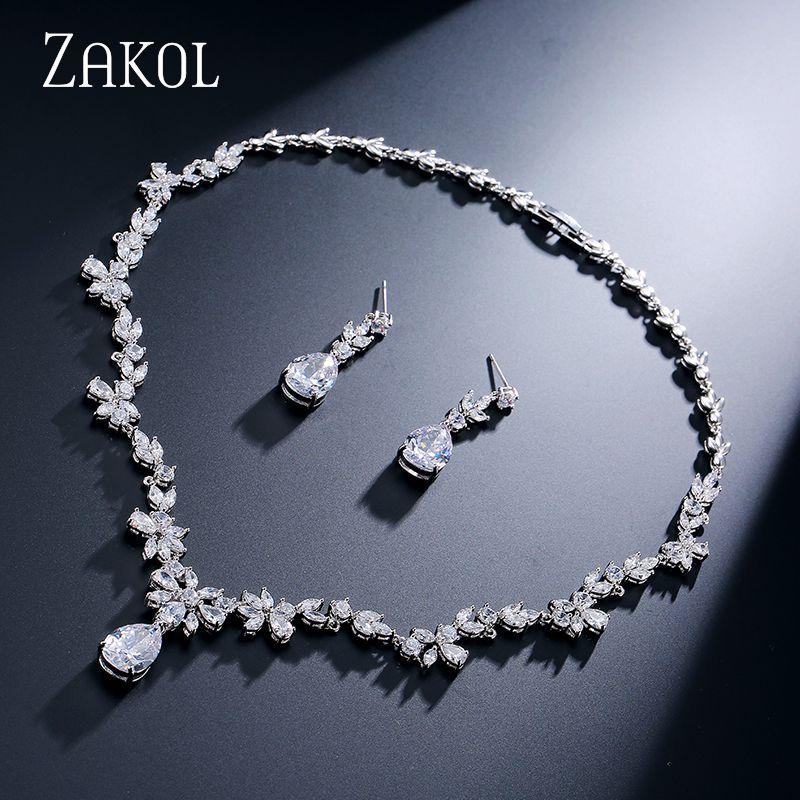 ZAKOL Fashion Cluster Flower Cubic Zirconia Crystal Women Earrings Necklace Set For Brides Wedding Costume Jewelry Set FSSP010