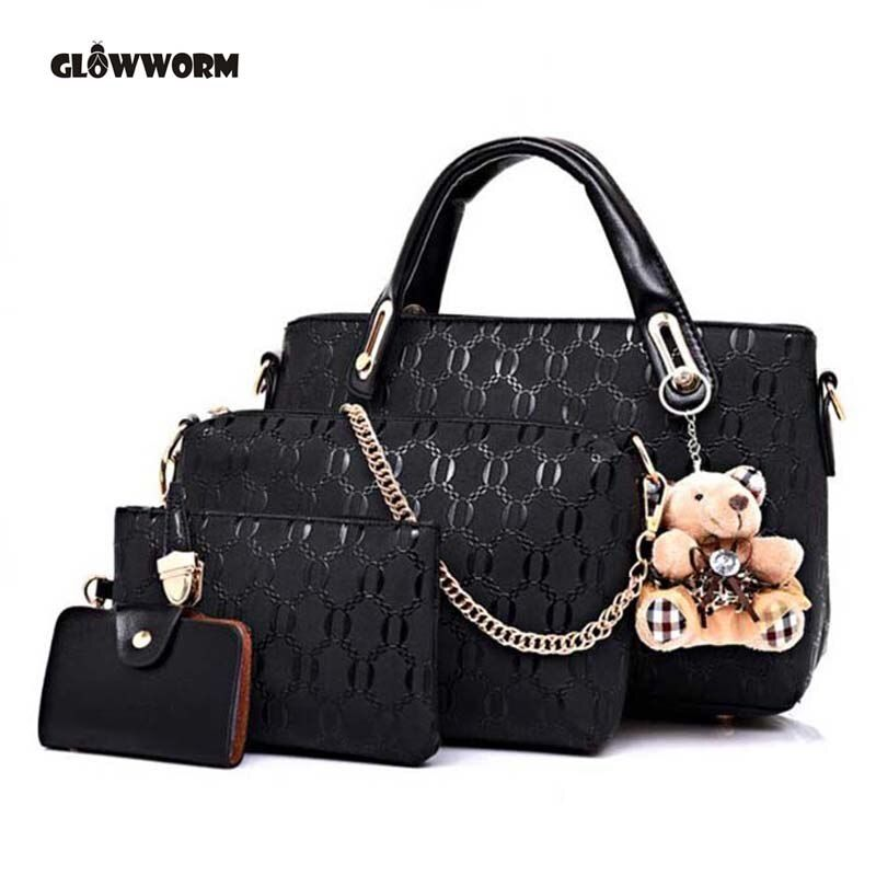 Famous Brand Women Bag Brand 2017 Fashion Women Messenger Bags Handbags PU Leather <font><b>Female</b></font> Bag 4 piece Set XP659