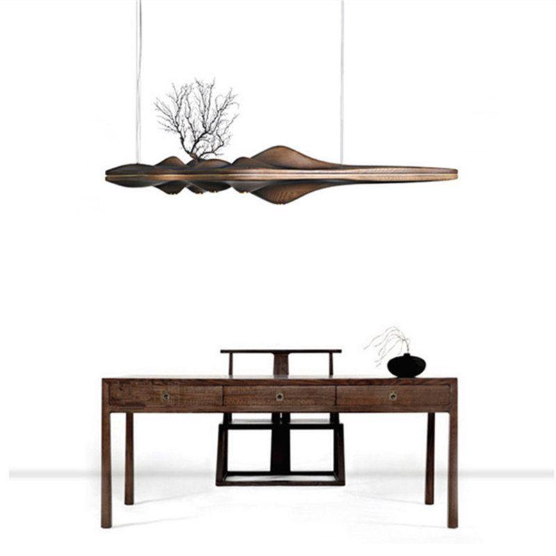 Kinlams современная деревянная подвеска свет Китайский Японский Nordic Творческий Ретро филиал лампы для столовой исследование Кухня River Island Дер...