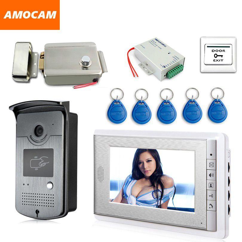 7 Screen Video Doorbell Intercom Door Phone System + ID Keyfobs + Electric Lock+Alunimum Camera + <font><b>Power</b></font> Supply+ Door Exit