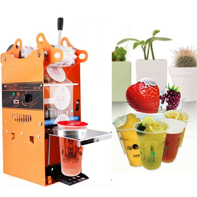 Free shipping 220V Electric Automatic Bubble Tea Cup Sealing machine Fruit Juice Cup Sealer DHL/EMS/UPS /fedex
