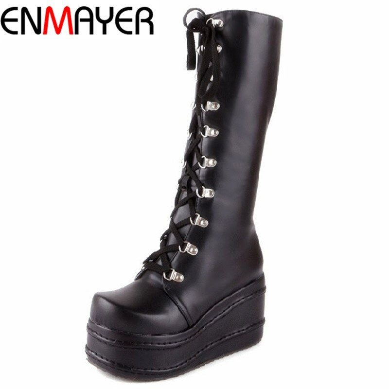 Chaussures ENMAYER nouvelles bottes de moto chaussures gothiques Punk Cosplay bottes genou haut talon plate-forme Sexy Zip hiver cales genou bottes hautes