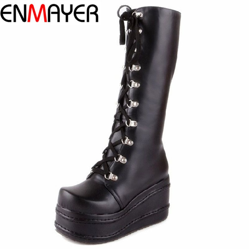 ENMAYER ShoesNew Motorcycle Boots Gothic Punk Shoes Cosplay Boots Knee High Heel Platform Sexy Zip Winter Wedges Knee High Boots