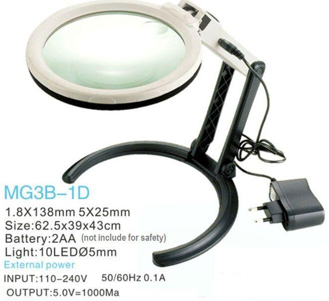 10 LED lampe loupe de bureau mains libres loupe éclairante w / 2 maneiras Batteries ou externe Plug chargeur alimentation