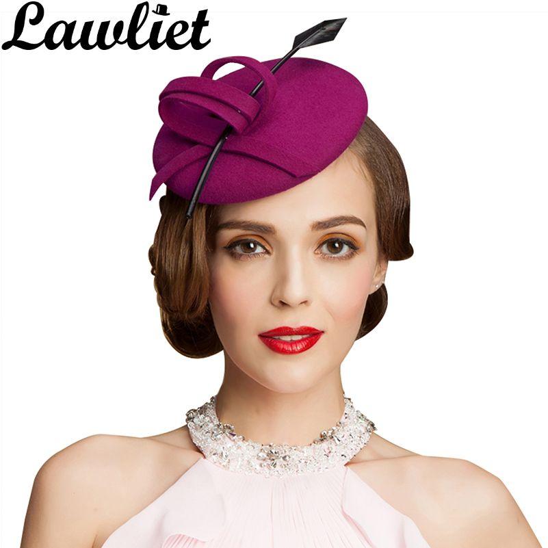 Femmes dames Fascinators chapeaux plumes 100% laine feutre Cocktail formel inclinaison chapeaux pour fête course jour Derby mariage casque