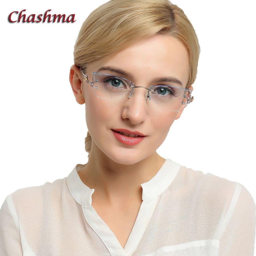 Chashma Marque Teinte Lentilles lunettes de Soleil Titane Lunettes Femelle Diamant Cristal Coupé Lunettes Cat Eye Cadre Sans Monture Lunettes Femme