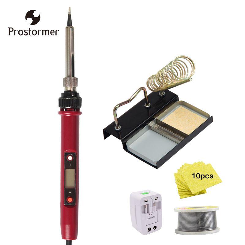 Prostormer 120W Electric Soldering Iron Set Adjustable Temperature 180-480Degree Welding Solder Station Heat Pencil Repair Tool