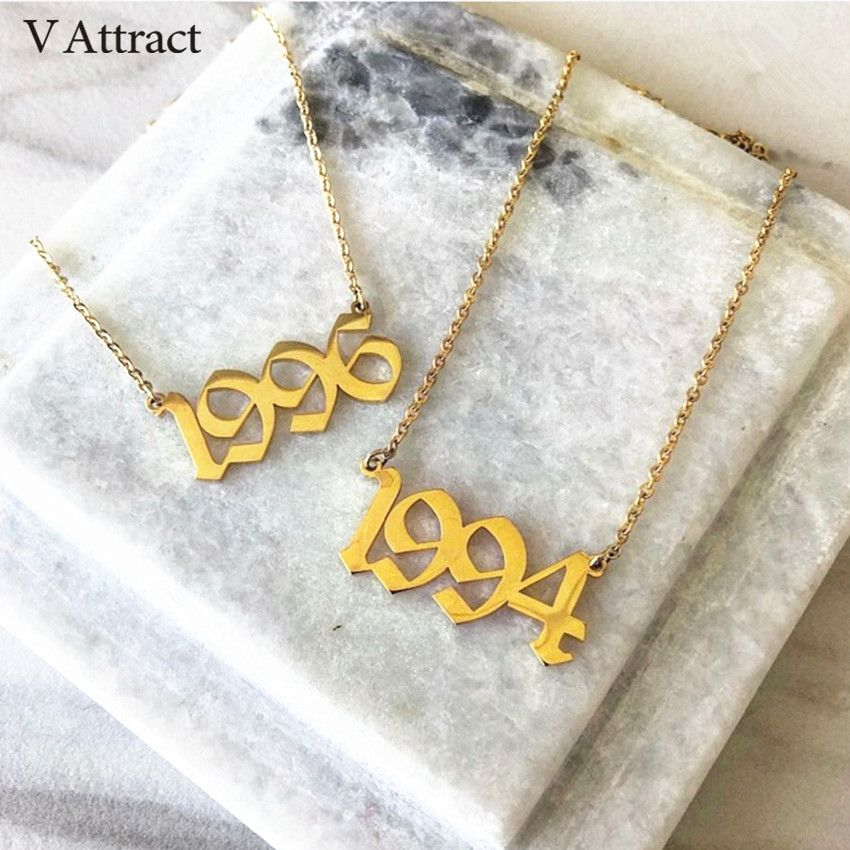 Gold Filled Old English Number Necklace Personalized Wedding Anniversary Day Date Gift BFF Custom Jewelry Silver Choker Kolye