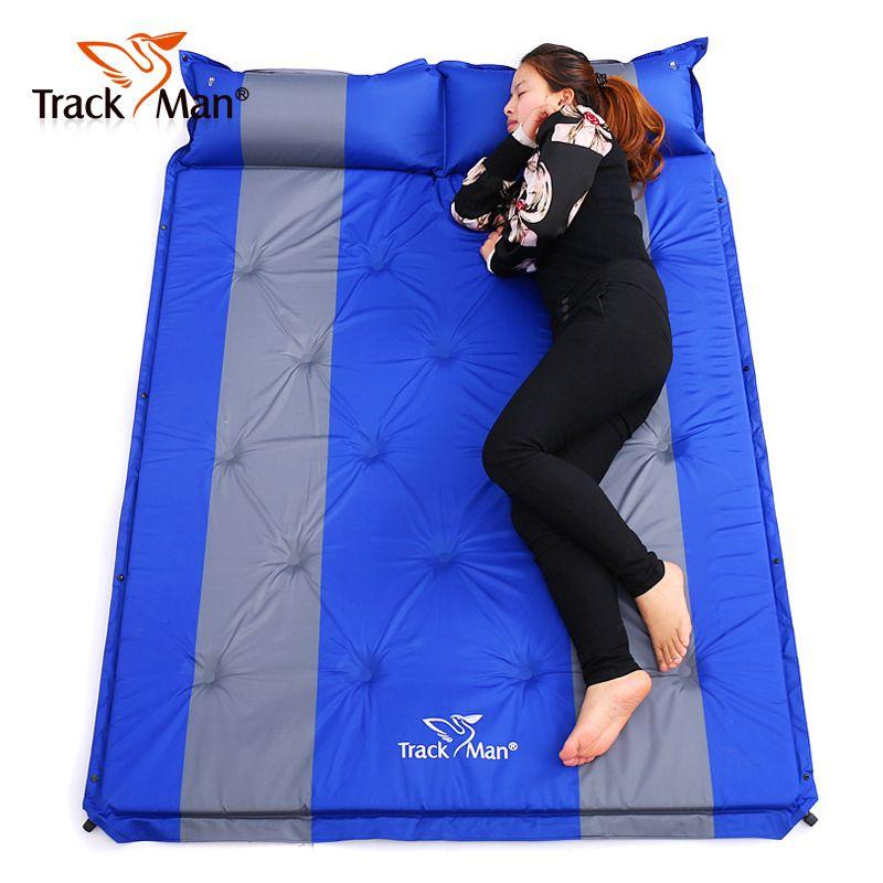 192*132 cm auf verkauf marke neue Trackman 2 personen PVC automatische aufblasbare matratze kissen outdoor camping matte feuchtigkeit pad
