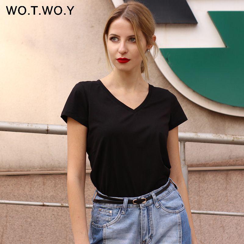 Haute Qualité V-cou 15 De Couleur de Sucrerie Coton De Base T-shirt Femmes plaine Simple T-shirt Pour Femmes À Manches Courtes Femme Tops 077
