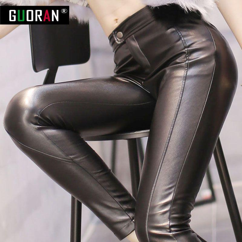 NOIR SEXY! Pantalon d'hiver femme Faux cuir pantalon avec velours taille haute épaissir décontracté Legging Skinny crayon pantalon pour le travail