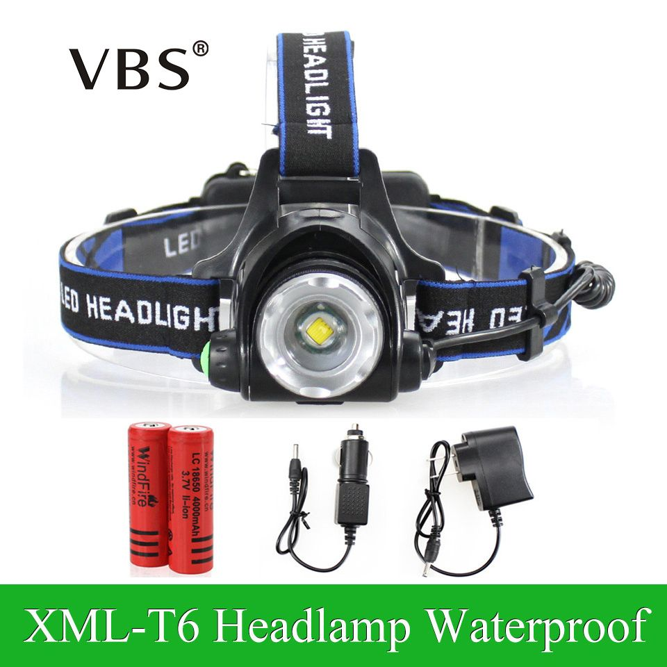 3 Modes LED Headlight Cree XML-T6 Headlamp Zoomable Waterproof led 2000LM rechargeable 2*18650+Charger Head lamps