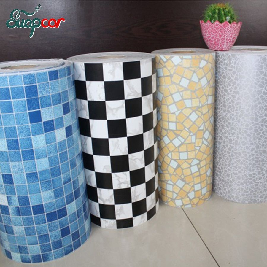 5M /10M New Bathroom Tiles Waterproof Wall Sticker Vinyl PVC Mosaic Self adhesive Anti Oil Stickers DIY Wallpapers Home Decor
