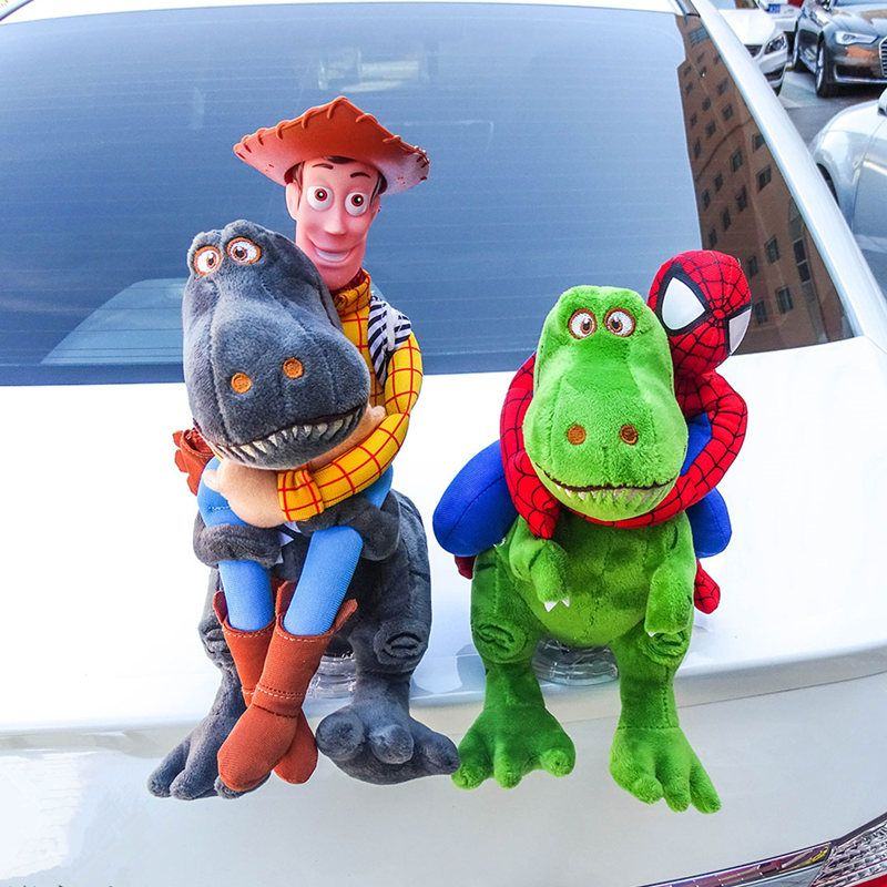 Handmade Funny Car Dolls Dinosaur Interesting Toys Cartoon Auto <font><b>Tails</b></font> Creative Hanging Doll Automobiles Exterior Accessories