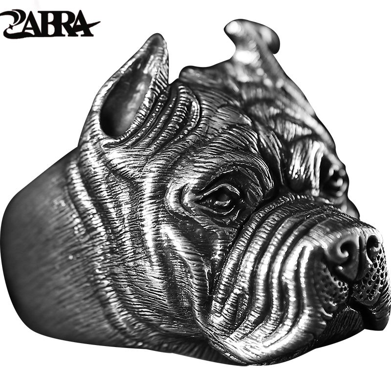 ZABRA Real Pure 925 Sterling Silver Shar Pei Dog Rings Mens Personality Gothic Bague Vintage Punk Rock Handmade Fine Jewelry