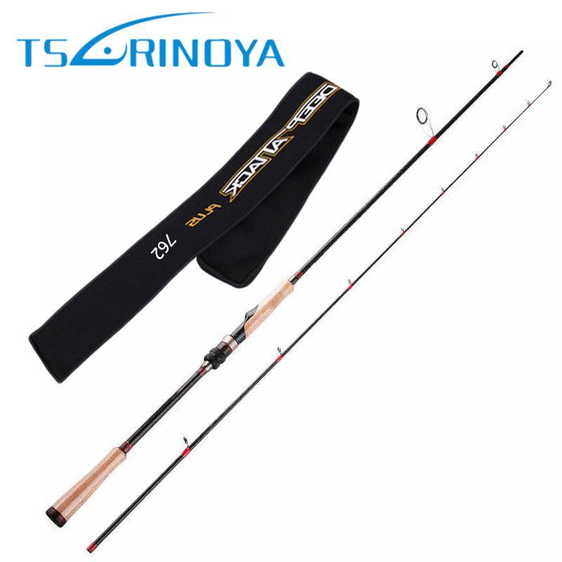 TSURINOYA 2Secs 2.28m/ML/6-18g Spinning Fishing Rod Japan Carbon Cork Handle Lure Rods FUJI Accessories Pesca Cane Pole Tackle